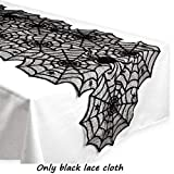 New Halloween Party Tablecloth Decoration Tassel Black Lace Spiderweb Fireplace Mantle Scarf Cover Festival Decor 1pc
