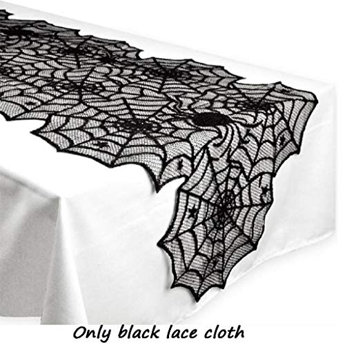 New Halloween Party Tablecloth Decoration Tassel Black Lace Spiderweb Fireplace Mantle Scarf Cover Festival Decor 1pc by NSC
