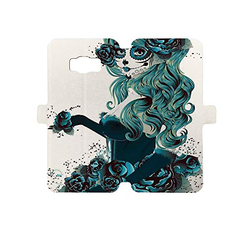 Premium PU Leather Magnetic Flip Folio Protective Sleeve for Samsung Galaxy S8,Skull,Vintage Sugar Skull Girl Day of The Dead Bride with Dark Color Roses Graphic Decorative,Petrol Blue White -
