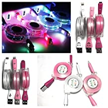 Pack of 3 LED charging and data sync portable retractable Lightning to USB cable charger cord compatible with Apple products iPhone 6 / 6 plus / 6s / 7 / 7 plus, iPad (Light Pink, Rose Pink, White)