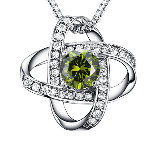 August Birthstone Pendant (Casfine Olive Green August Birthstone Necklace AAA Cubic Zirconia Pendant Necklace White Gold Round Silver Necklace for Women)