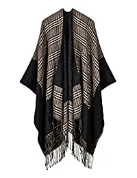 Hiwil Womens Lattice Knitted Cashmere Reversible Oversized Blanket Ponchos Cardigans Capes Coat Sweater