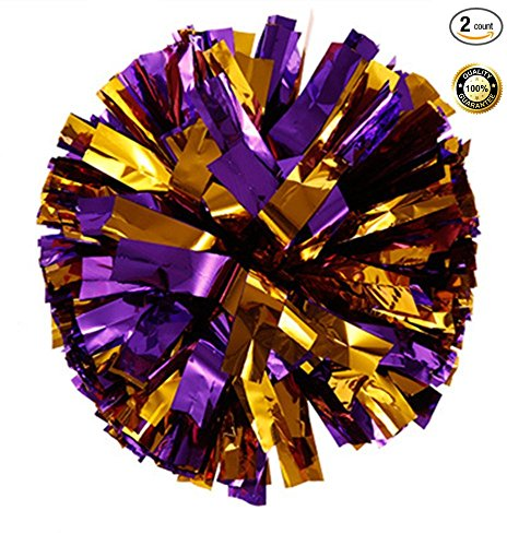 BCLAND Pack of 2 Metallic Foil & Plastic Ring Pom Poms (Purple with Gold) ()