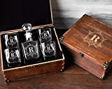 Personalized Decanter Set with Wood Box Whiskey Decanter Set Groomsmen Gifts for Wedding Engraved Decanter Set Men's Birthday Gift Personalized Whiskey Glasses Monogrammed Gift Him Whiskey Gift Set Review