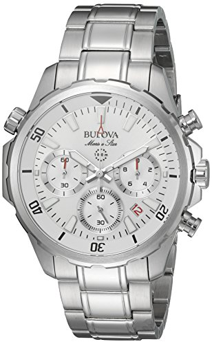 Bulova Men's Quartz Stainless Steel Dress Watch, Color:Silver-Toned (Model: (Marine Star Mens Quartz Watch)