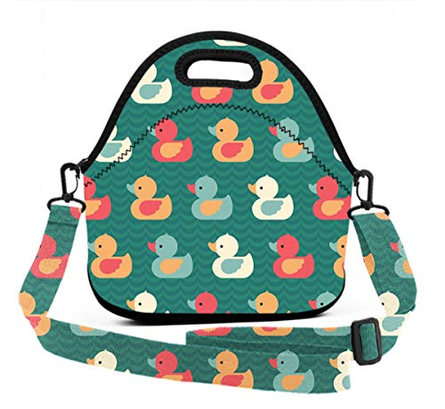 Lunch Box With Meal Prep Containers/Insulated Lunch Bag Duck Painting Food Containers Lunch Box Bag For Meal Prep, Leak-Proof, Quick And Simple -