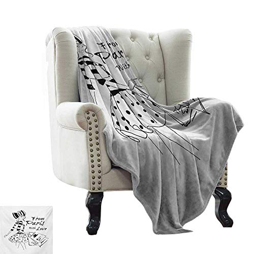 LsWOW Fur Blanket Paris,from Paris with Love Fashion Hand Drawn Girl Figure Shopping Polka Dot Design Skirt,Black White Super Soft Faux Fur Plush Decorative Blanket 60