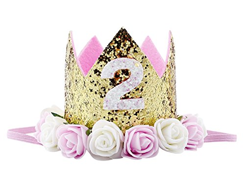 Baby Golden Crown 2nd Birthday Princess Party Hats Flower Headbands Hair Accessories Pink White Flower