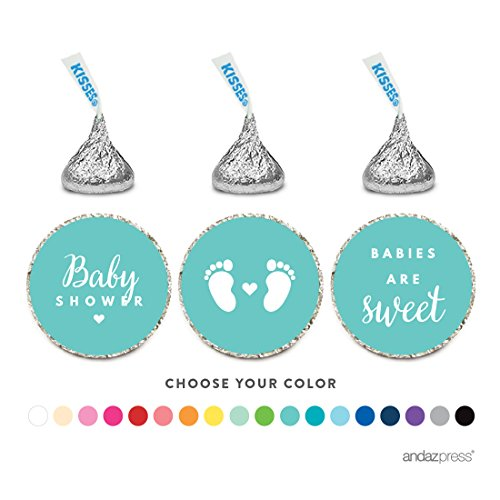 Andaz Press Chocolate Drop Labels Trio, Fits Hershey's Kisses, Baby Shower, Diamond Blue, 216-Pack