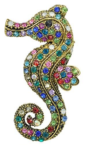 Gyn&Joy Golden Tone Colorful Rhinestone Crystal Ocean Seahorse Fish Animal Brooch Pin BZ150