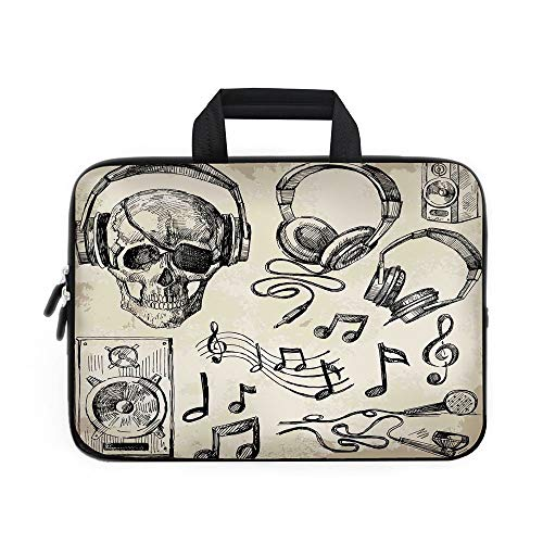Music Decor Laptop Carrying Bag Sleeve,Neoprene Sleeve Case/Sketchy Music Background Hipster Skull with Headphones Record Player Mic Speakers Print/for Apple Macbook Air Samsung Google Acer HP DELL Le