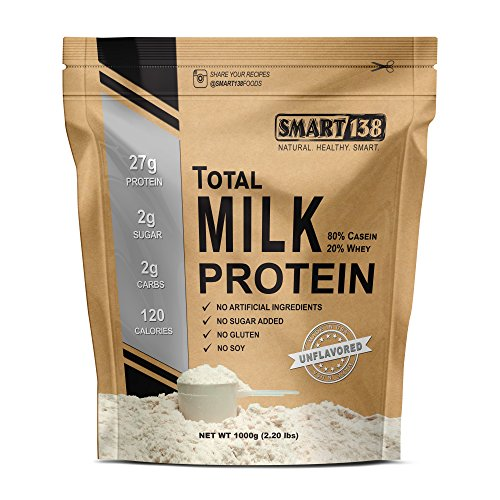 Total Milk Protein // 80% Casein 20% Whey // Gluten-Free, Soy-Free, Non-GMO, USA, Keto Low Carb, Natural BCAAs (1000g / 2.2lbs, Unflavored) (Milk Protein Powder)