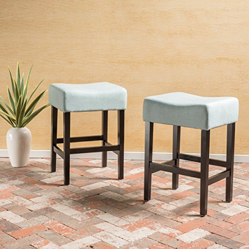 Coventry Light Blue Fabric Backless Counter Stool (Set of 2) (Blue Bar Light Stools)