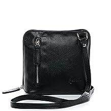 small crossbody shoulder bag CYNTHIA - cross-body strap fits iPad mini - genuine black leather (8.8 x 6 x 2.8 in.)