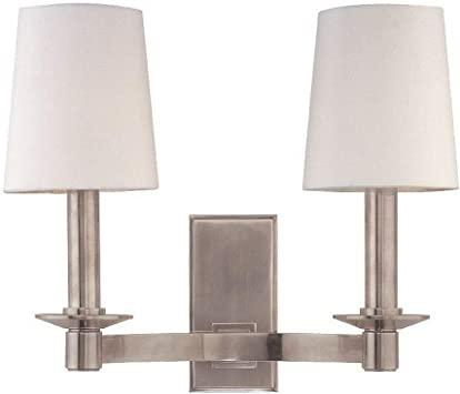 Hudson Valley Lighting 152 Hn Spencer Two Light Wall Sconce Historic Nickel Finish With Off White Faux Silk Wall Sconces Amazon Com