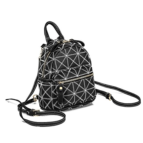 MSZYZ Bolso de Moda Femenina Todos-Match Mini Crossbody Mochila de Cuero Black lattice trumpet