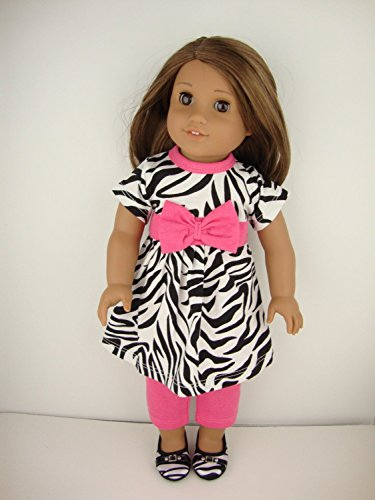 2 piece Pink and Zebra Print Pant Suit - Designed for 18 Inch Doll, American Girl Doll. Shoes Sold Separately. -