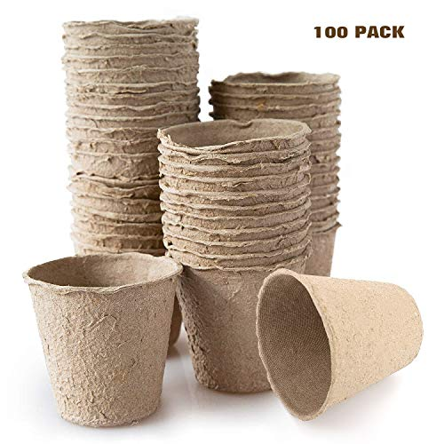 Housolution Peat Pots for Seedlings, 100 Pieces 3 Inch Gardening Seed Starter Tray Kit, Biodegradable Eco-Friendly Plant Starting Pots, Khaki (Compostable Plant Pots)