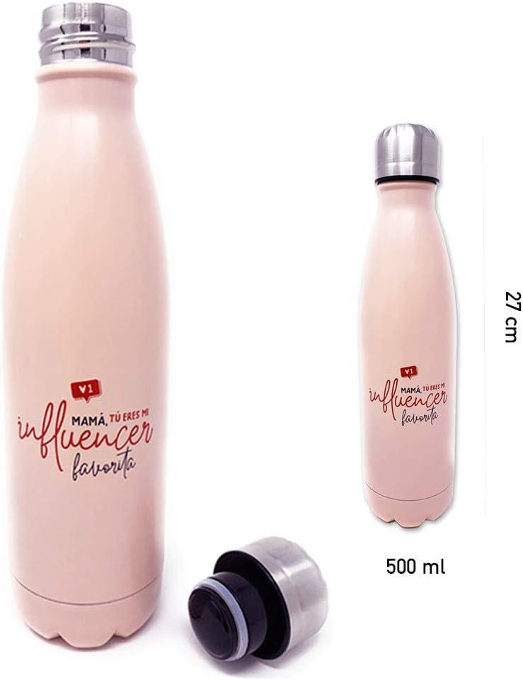 Botella Acero Inoxidable DCASA Set de Regalo para Mam/á con Mensaje Mam/á tu Eres mi Influencer Favorita Cepillo para el Cabello y Bolsa de Regalo Azul
