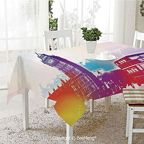Spring and Easter Dinner Tablecloth,Kitchen Table Decoration,London,Historical Big Ben and Bus Great Bell Clock Tower UK Europe Street Landmark,Purple Red Yellow,59 x 83 inches