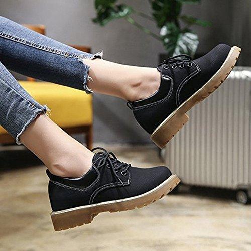 T-july Zapatos Oxford Para Mujer De Moda - Zapatos Cómodos Con Cordones Y Tacón Bajo Performance Cómodos Negro