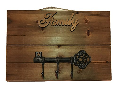 17 Inch Cast Iron Wall Mount - Utility Hook Coat or Key Hanger Wood Pallet Plaque with 4 Options, Love, Family, Dream, or all 3! (Family)