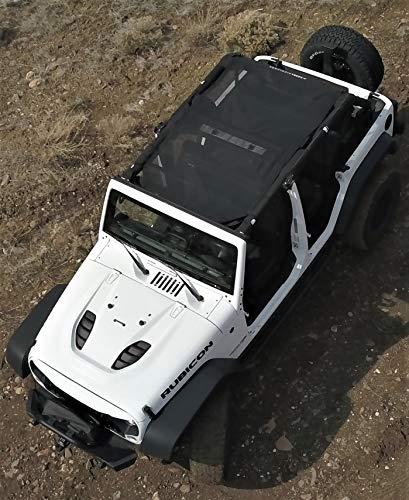 Sierra Highlands - The Oasis - JKU 4-Door Jeep Wrangler Mesh Sunshade with UV Protection (2007-2018) (Midnight Black, JKU 4-Door Wrangler) (Sierra Door 4)