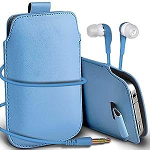 N4U Online - Samsung Galaxy S2 i9100 premium protección PU Tire de la cubierta del caso Tab bolsa deslizamiento del cordón en el bolsillo y Coincidencia 3.5MM Auriculares Auriculares Auriculares - Baby Blue