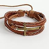 Men's leather bracelet Women's leather bracelet Cross bracelet Charm bracelet Ropes bracelet Cords bracelet Braided leather bracelet Woven leather bracelet Christian bracelet Religion bracelet