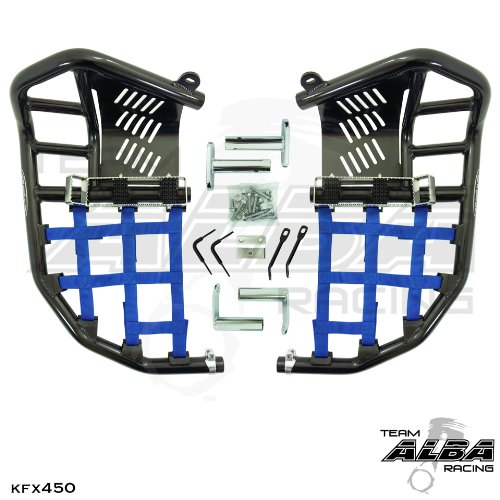 Kawasaki KFX 450R, KFX450R (2008-2015) Propeg Nerf Bars Black Bars w/ Blue Net by Alba Racing