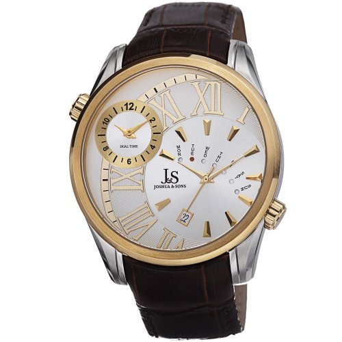 Joshua & Sons Men's JS72YG Yellow Gold Dual Time Zone Quartz Watch With White Dial and Brown Embossed Leather Strap