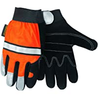 MCR Safety 911DPXL Luminator Split Cow Double Leather Palm High Visibility Multi-Task Gloves with 3M Reflective Tape, Orange/Black, X-Large, 1-Pair