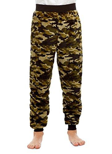 Boys Pajama Bottoms | Cozy Flannel Fleece Camo Jogger Style PJ Pants - XL (Cozy Flannel)