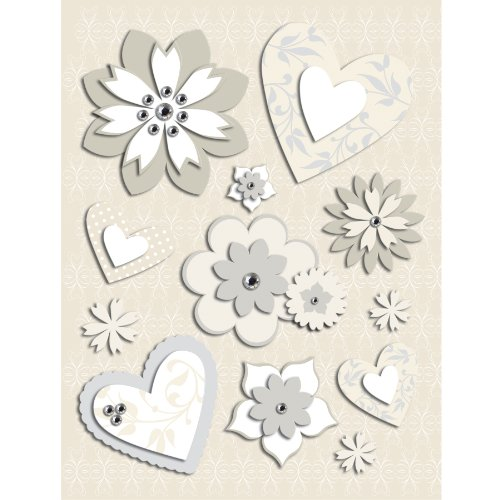 K&Company Elegance Heart and Flower Grand Adhesions (Anniversary Scrapbooking)