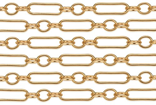 5 Feet 14Kt Gold Filled Long and Short Chain 1.9x1.6 mm 28 Gauge For Diy Beading Arts and Crafts (Wholesale Gold Filled)
