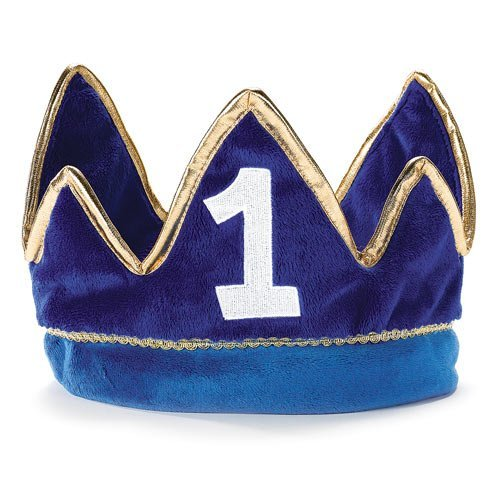 1st Birthday Boy Prince Party Supplies - Plush Crown (Boys 1st Birthday Party Hat)