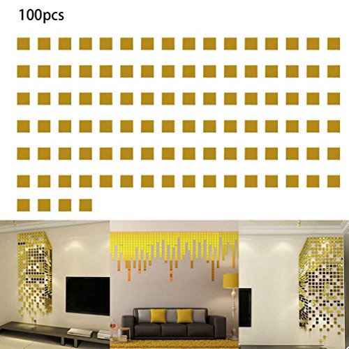 Gold 100pcs/lot DIY Bling Acrylic Mural Wall Sticker Mosaic Mirror Wall Stickers -