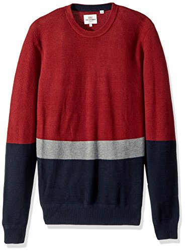 Ben Sherman Men's Textured Color Block Crew Neck, Rust, Medium
