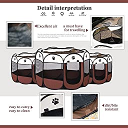 CFY pet playpen Pets Dogs Supplies Dog House Dog Exercise Playpen 8 Panels Travel Kennel Puppy (L)