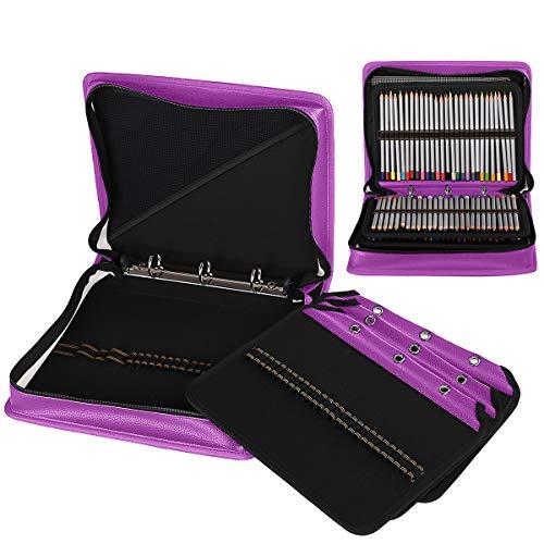 (Corasays 186 Slots Binder Closure Pencil Case, 3-Rings Loose-Leaf PU Leather Pen Pencil Holder DIY for Art Makeup Supplies (180-Purple))
