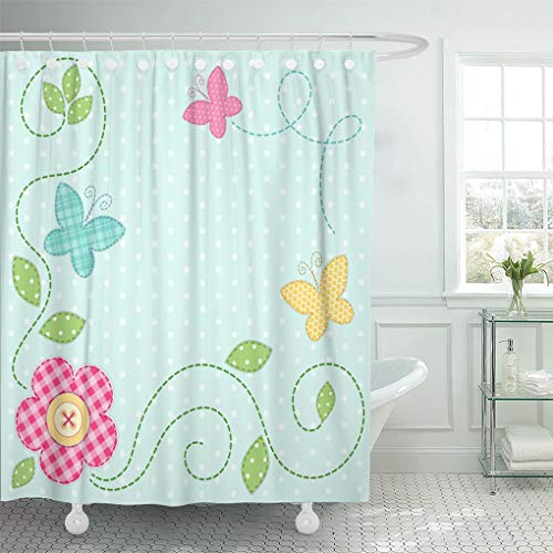 Emvency Shower Curtain Dot Cute Retro Spring As Patch Applique of Flowers and Butterflies Baby Shower Curtains Sets with Hooks 72 x 78 Inches Waterproof Polyester ()