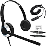 Deluxe Double Ear Noise Canceling Call Center / Office Headset & HIS Adapter For Avaya IP 1608, 1616, 9601, 9608, 9611, 9611G, 9620, 9620C, 9620L, 9621, 9630, 9631, 9640, 9641, 9650, 9670 + many more