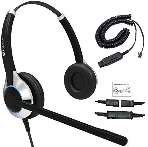 Deluxe Double Ear Headset with Noise Canceling Microphone and Cable for Avaya IP 1608, 1616, 9601, 9608, 9611, 9611G, 9620, 9621, 9630, 9631, 9640, 9641, 9650, 9670, J139, J169 and J179 Phones