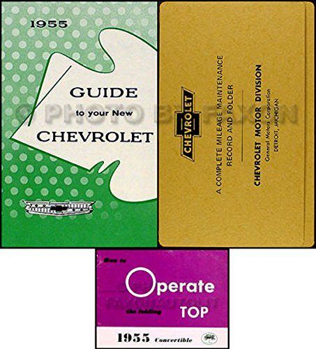 (1955 CHEVROLET IMPALA CONVERTIBLE OWNERS INSTRUCTION & OPERATING SET OF MANUALS & PROTECTIVE ENVELOPE)