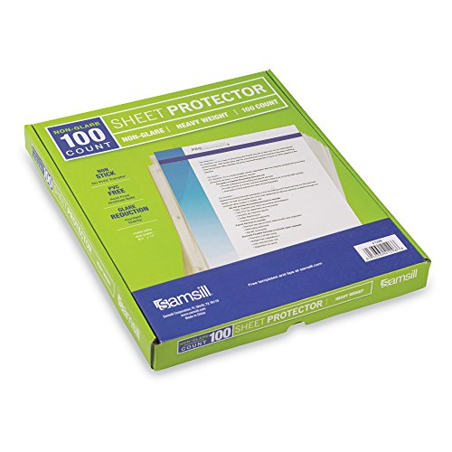 Samsill Heavyweight Non-Glare Poly Sheet Protectors, Box of 100, Acid Free & Archival Safe, Top Loading, Letter Size - 8.5 x 11 Photo #4