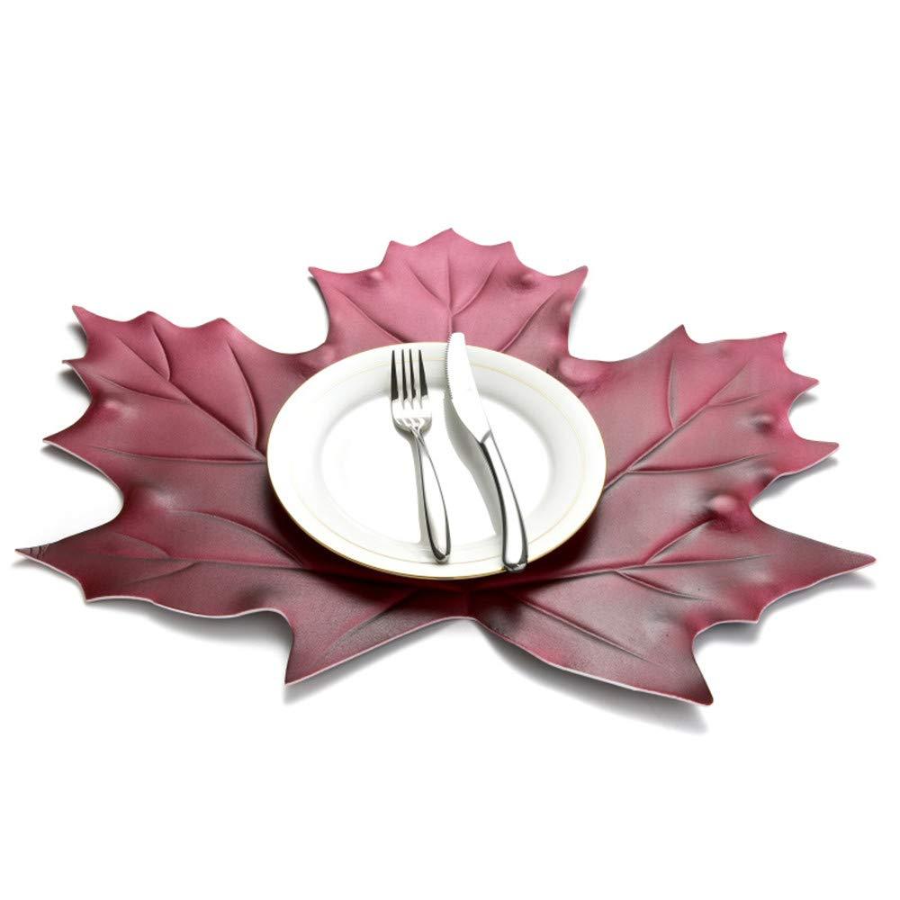 MLADEN メープルリーフ プレースマット 汚れにくい 洗濯可能 EVA クリエイティブ テーブルマット ノンスリップ 食事マット 18 x 19.6インチ テーブルデコレーション 4枚セット レッド  レッド B07MBC7V23