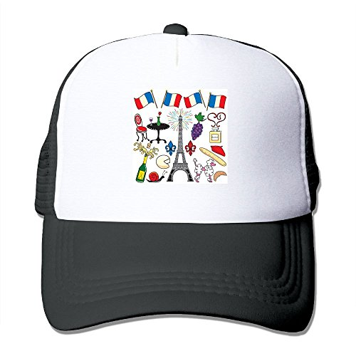Xush Paris Eiffel Tower Adjustable Printing Snapback Summer Mesh Hat Unisex Adult Baseball Mesh Caps Perfect for Running, Workouts and Outdoor Activities ()