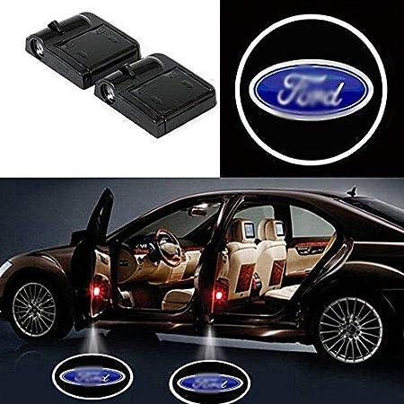 Soondar Juego de luces LED inalámbricas para puerta de coche, 2 piezas, luces de cortesía con proyección del emblema, no hace falta taladrar