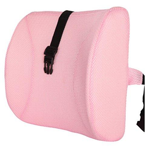 Moyishi Lovely Pink High Resilient Memory Foam Seat Back Lumbar Cushion Support Pillow Car Office Chair Back Support (Lumbar Support Sacral Pillow)