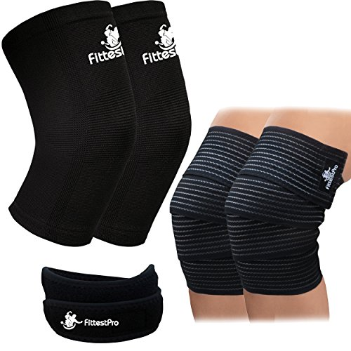 Fittest Pro 5-Piece Knee Sleeve Pack of 1 Pair Knee Compression Sleeve, 1 Pair Knee Wrap and 1 Knee Patella Strap for Patella Tendonitis, Jumpers and Runners (Black/ Medium)